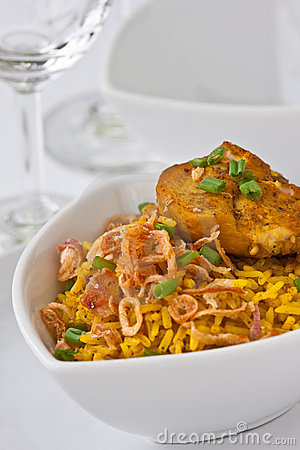 Modern thai food, Saffron rice with chiken