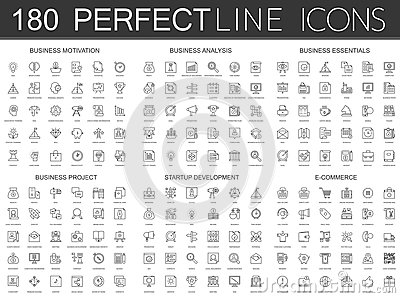180 modern thin line icons set of business motivation, analysis, business essentials, business project, startup Vector Illustration