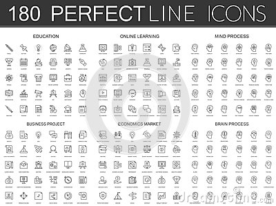 180 modern thin line icons set of education, online learning, mind process, business project, economics market, brain Vector Illustration