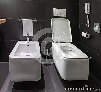 modern toilet and bidet in bathroom royalty free stock image image 29565696. Black Bedroom Furniture Sets. Home Design Ideas