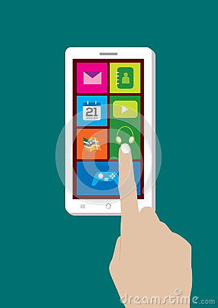 Modern Touchscreen Mobile Phone and Hand