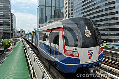 Modern Train on Elevated Rails in Bangkok Editorial Image