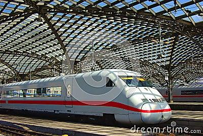 Modern Train On Railway Station In Europe Royalty Free