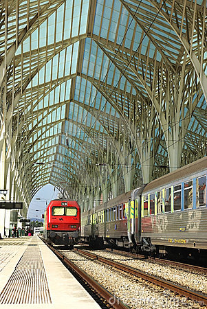 Modern train station. Editorial Stock Image