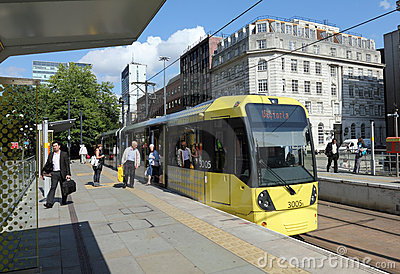 Modern Tram in Manchester Editorial Stock Photo