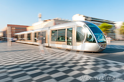 Modern tram in Nice city, France.
