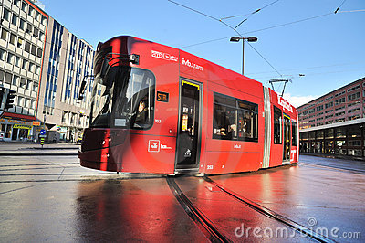 Modern tram for public transportation in Innsbruck Editorial Stock Photo