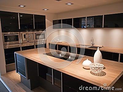 Modern trendy design black wooden kitchen