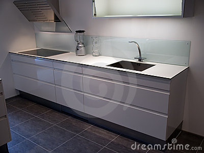 Modern trendy design white kitchen