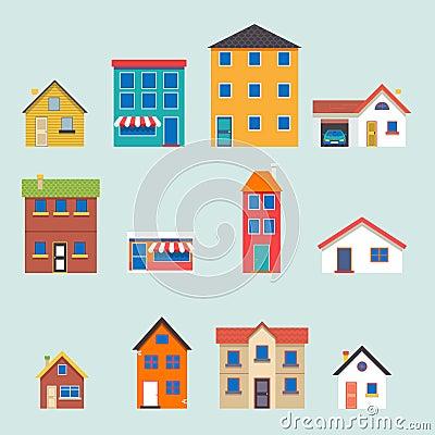 Free Modern Trendy Retro House Street Flat Icons Set Royalty Free Stock Image - 45587926