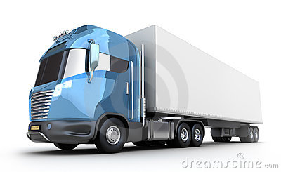 Modern truck with cargo container