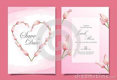 Modern tulips wedding invitation cards template design. Pink color theme with beautiful hand-drawn watercolor flowers Stock Photo