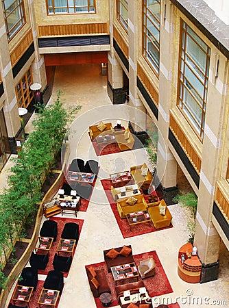 Modern upscale hotel interior