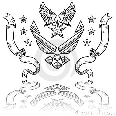 Modern US Air Force Insignia with Ribbons