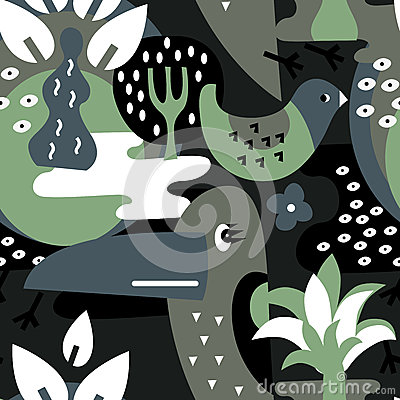 Free Modern Vector Pattern With Birds And Plants. Stock Photography - 58516452