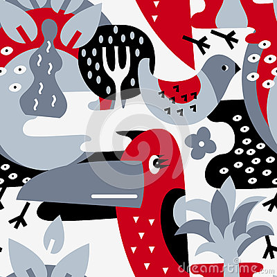 Free Modern Vector Pattern With Birds And Plants. Royalty Free Stock Photography - 58516457