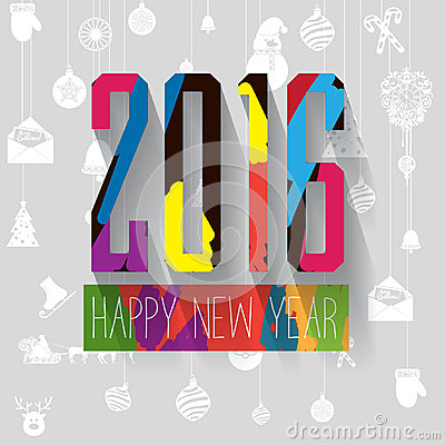 Modern Vector Pop Up Style Colorful Letters New Year