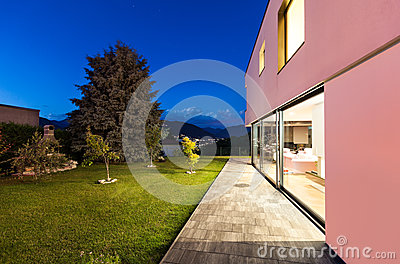 Modern villa, night
