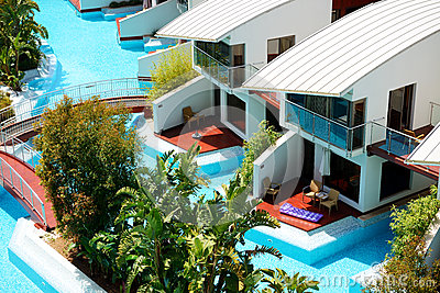 Modern villas with swimming pool at luxury hotel