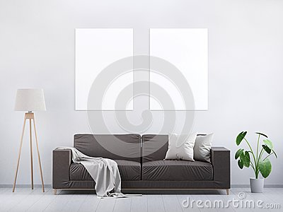 Modern vintage living room. Brown leather sofa on a grey wooden floor and light wall. 3D render. Stock Photo