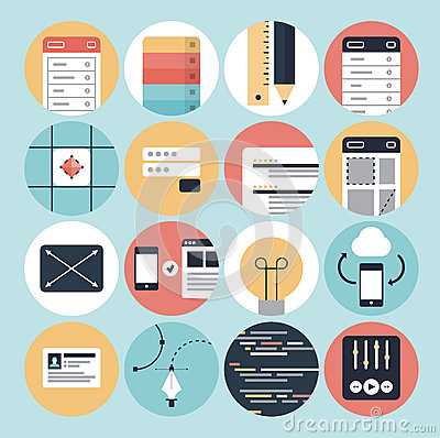 Free Modern Web Development And Graphic Design Icons Stock Images - 34704984