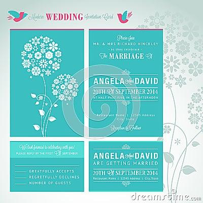 Modern wedding invitation card set