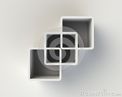 modern white abstract book shelf on the wall stock photos - image