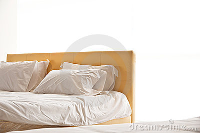 Modern white bed and pillow