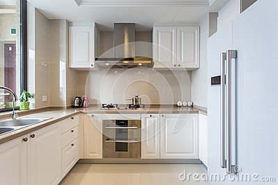 Modern white big kitchen
