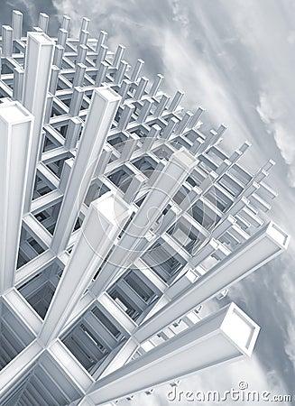 Modern white braced construction above sky
