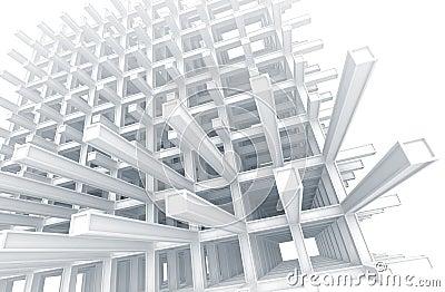 Modern white braced construction on white