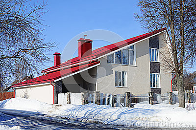 Modern White Brick House With Red Roof Stock Photo Image