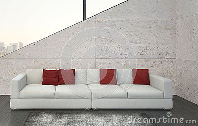 Modern White Couch modern red couch and pillows royalty free stock image - image