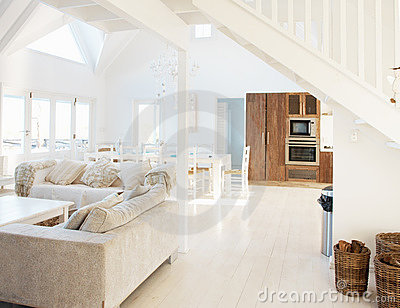 Modern white interior of a hall dining room