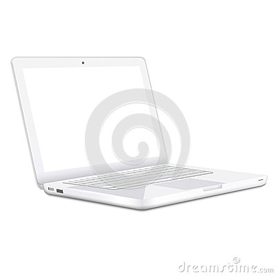 Modern white Laptop  on white background
