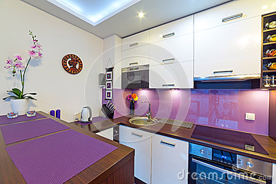 Modern white and purple  kitchen