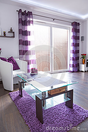 Modern white and purple living room interior