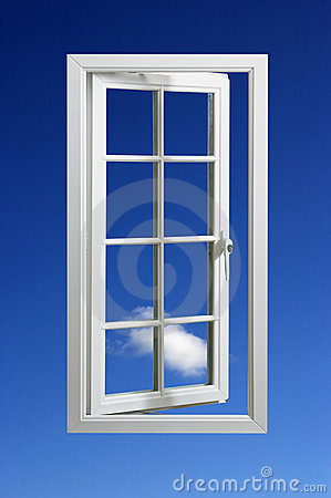 Modern white window frame in blue sky