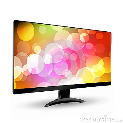 Modern wide screen tv display 3 on white