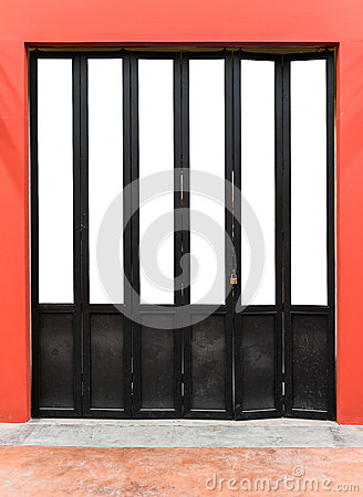 Modern wooden folding door Stock Photo