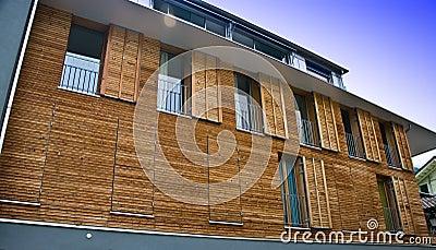 Modern wooden house facade