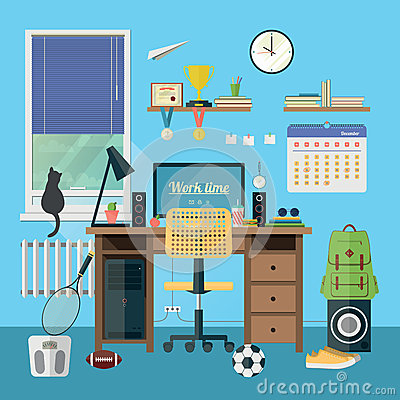 Free Modern Workplace In Room Royalty Free Stock Image - 47166456