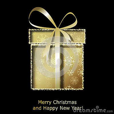 Free Modern Xmas Greeting Card With Golden Christmas Gift Box Stock Photography - 35864762