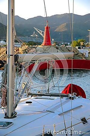 Modern yacht in harbor