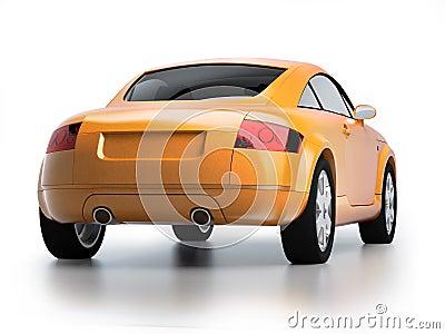 Modern yellow car back view