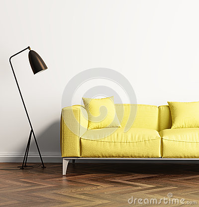 Free Modern Yellow Sofa In A Fresh Living Room Stock Image - 69984041