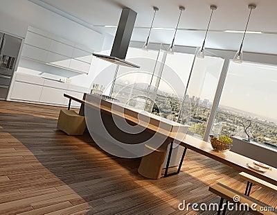 Houten Vloer In Moderne Keuken Stock Foto - Afbeelding: 49815998