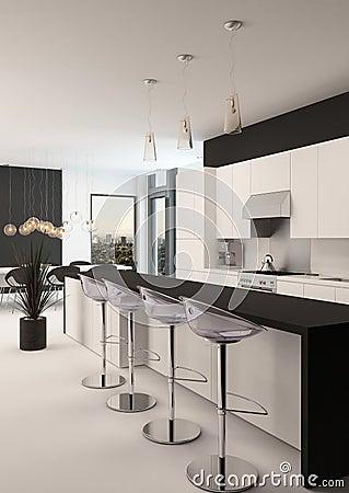 Moderne zwart witte kleine keuken stock foto   afbeelding: 52069490