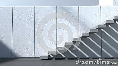 Moderne architectuur buitenkant terras treden met witte muren en
