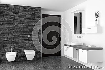 Moderne badkamers met zwarte steenmuur stock afbeelding afbeelding 14841941 - Zwarte badkamer witte ...